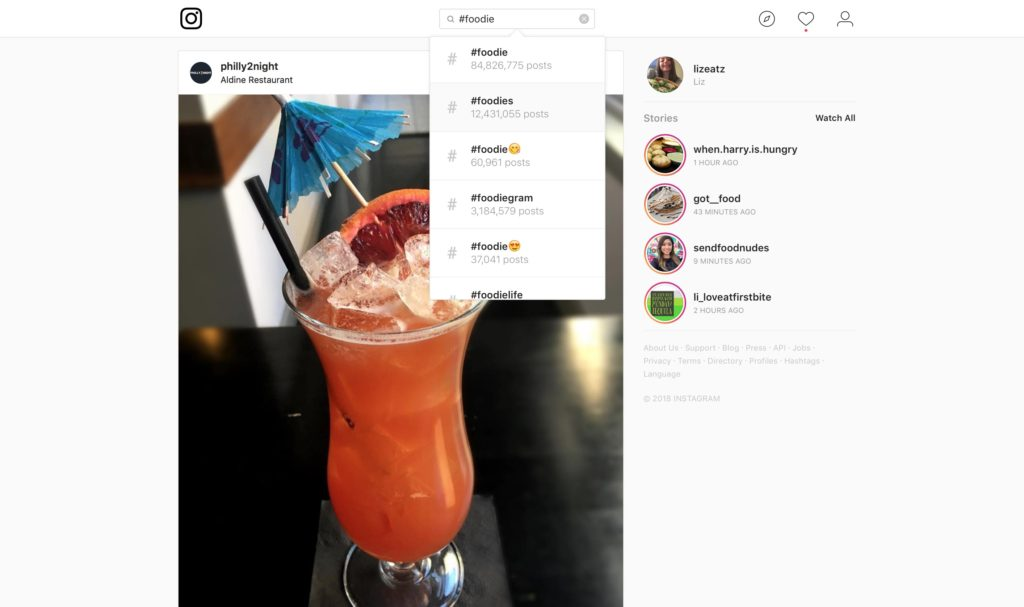 food hashtag examples